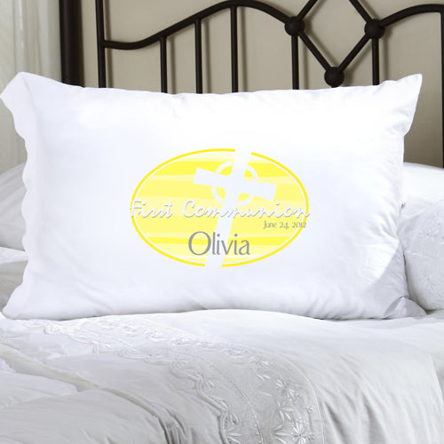 First Communion Pillow Case - Celtic Blessings Yellow - 2cooldesigns