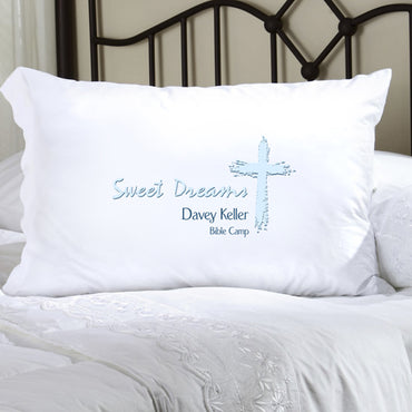 Childrens Personalized Pillow Case - Blue Message - 2cooldesigns