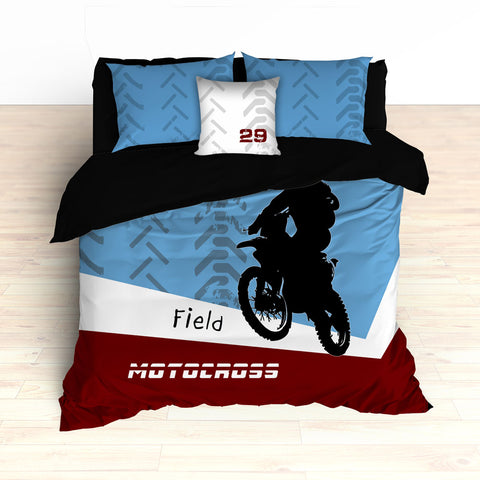 Personalized Motocross Comforter or Duvet, Dirt Bike, Freestyle, Blue and Maroon - 2cooldesigns