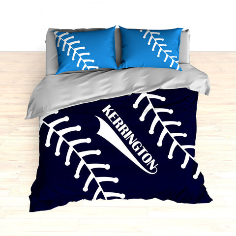 Baseball Stitches Bedding, Personalized Comforter or Duvet, Navy Blue, Light Blue - 2cooldesigns