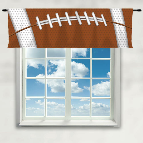 Football Team Colors Window Curtain or Valance, Brown and White - 2cooldesigns