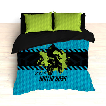 Kids Motocross Bedding, Blue, Teal, Green, Black, Dirt Bike Racing - 2cooldesigns