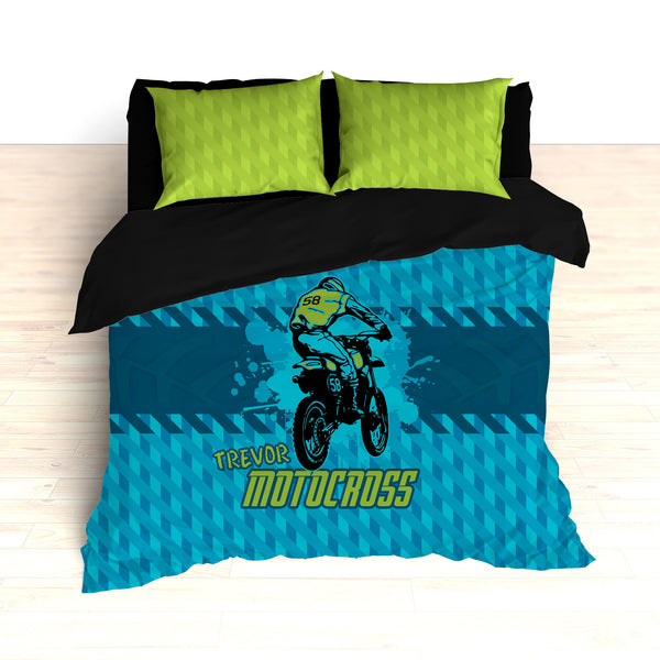 Dirt Bike Motocross Bedding, Blue, Teal and Green, Personalized