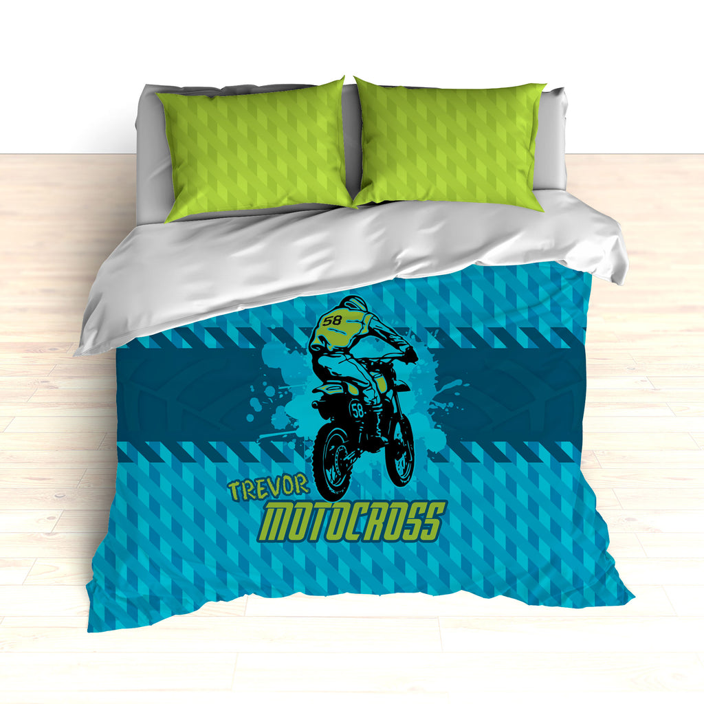 Dirt Bike Motocross Bedding, Blue, Teal and Green, Personalized - 2cooldesigns