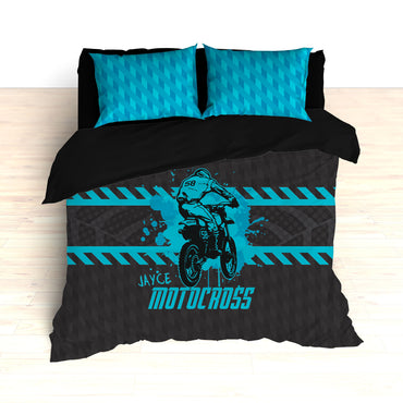Motocross Bedding, Blue, Gray, Black, Personalized Comforter or Duvet - 2cooldesigns