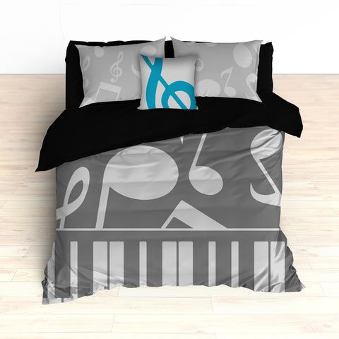 Musical Notes Bedding, Piano Keyboard Theme, Personalized Any Color - 2cooldesigns