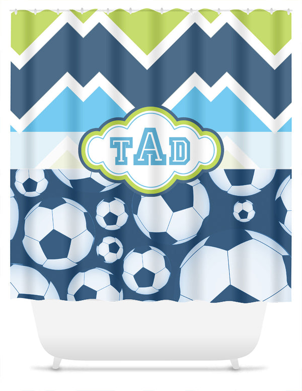 Soccer and Candy Chevron with Monogram Shower Curtain