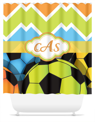 Soccer and Candy Chevron with Monogram Shower Curtain - 2cooldesigns