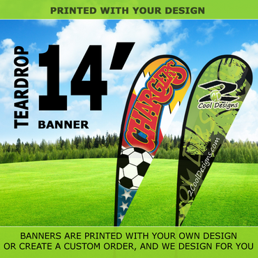 14' Teardrop Flying Banner with Stand - Printed with Your Design - 2cooldesigns