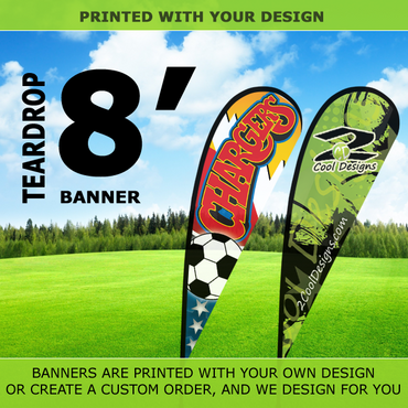 8' Teardrop Flying Banner with Stand - Printed with Your Design - 2cooldesigns