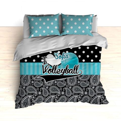 Personalized Volleyball Bedding, Duvet or Comforter, Polka Dots and Paisley - 2cooldesigns