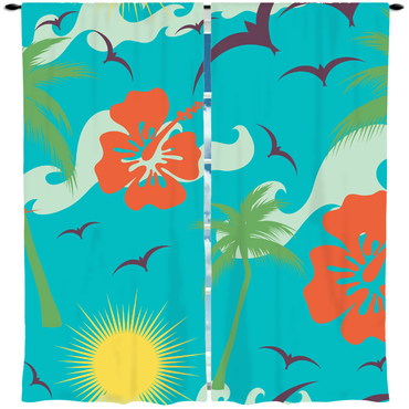 Tropical Palms and Flowers Window Curtain or Valance - 2cooldesigns