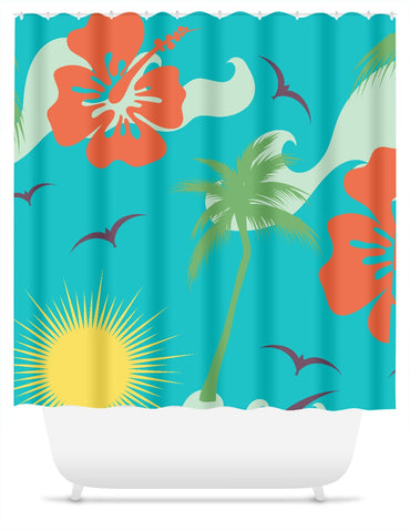Tropical Palms, Flowers, Birds and Sun Shower Curtain - 2cooldesigns