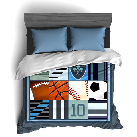 Custom Sports Themed Bedding, I love All Sports, All Star Personalized, Duvet or Comforter - 2cooldesigns