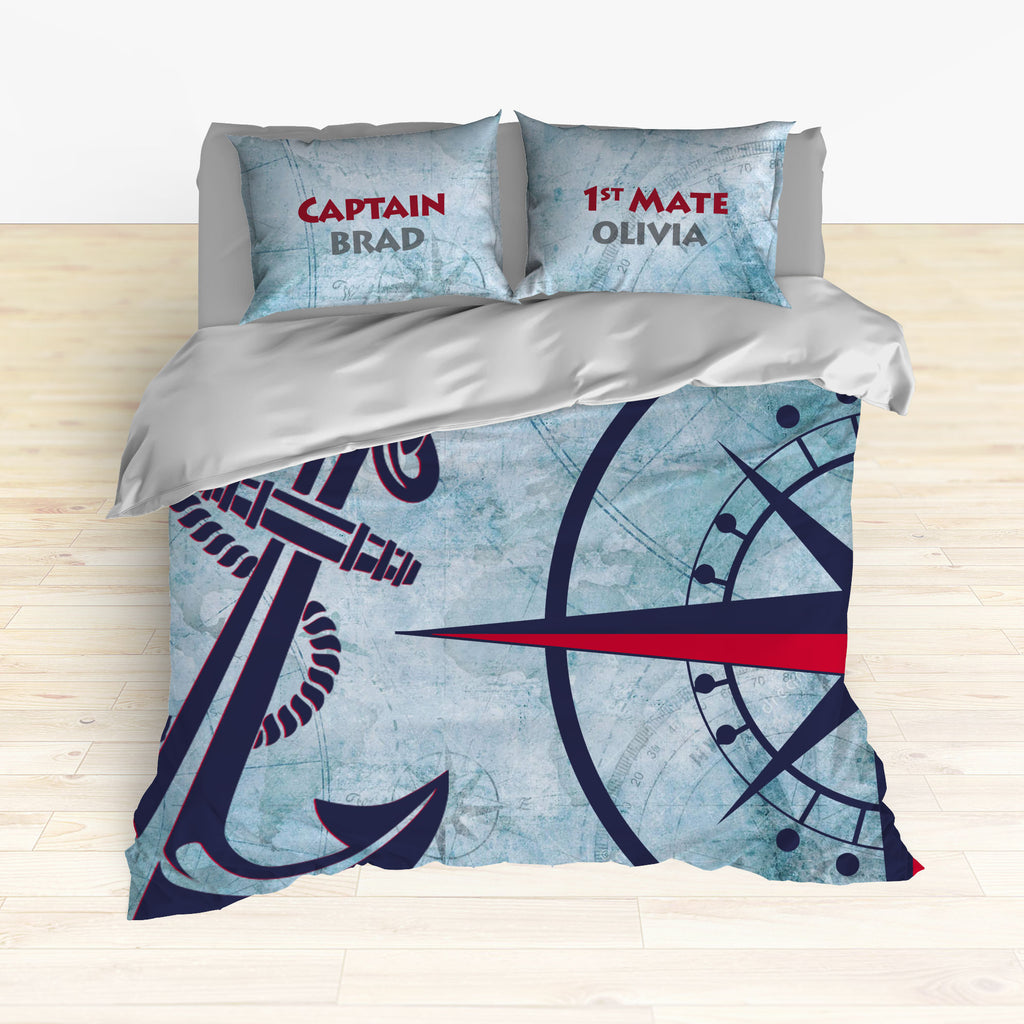 Nautical Anchor and Compass Bedding, Duvet or Comforter Sets - 2cooldesigns