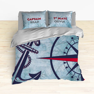 Nautical Anchor and Compass Bedding, Duvet or Comforter Sets