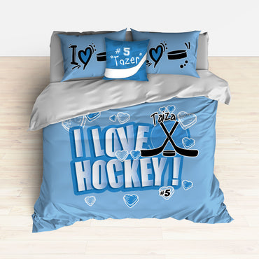 Personalized Hockey Bedding, Duvet or Comforter Sets, Hockey Themed Bedroom Baby Blue - 2cooldesigns