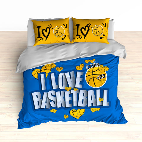Basketball Hearts Bedding, Personalized, I Love Basketball, Basketball Duvet or Comforter - 2cooldesigns