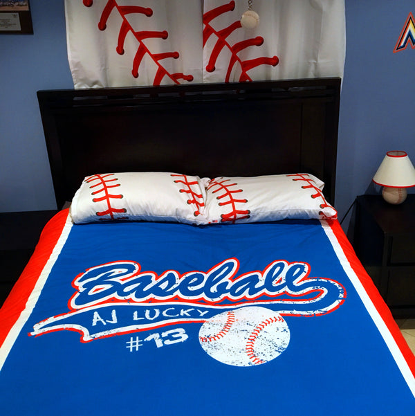 Personalized Baseball Bedding, Custom Duvet or Comforter Sets for Baseball Themed Bedroom