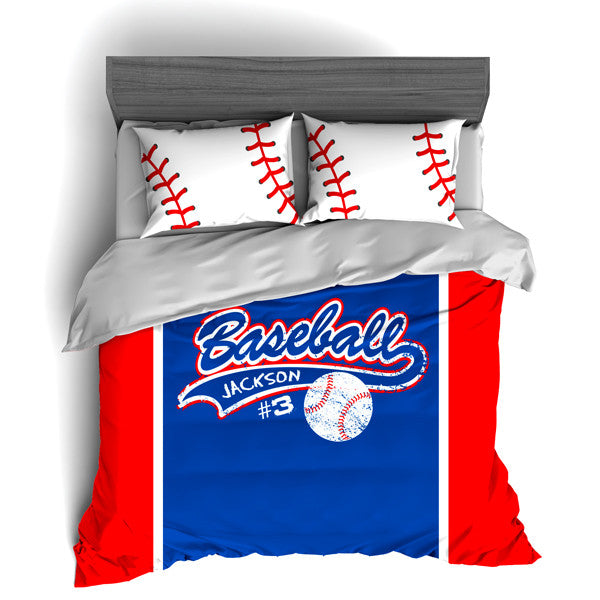 Custom Baseball Bedding, Duvet or Comforter Sets for Baseball Themed Bedroom - 2cooldesigns