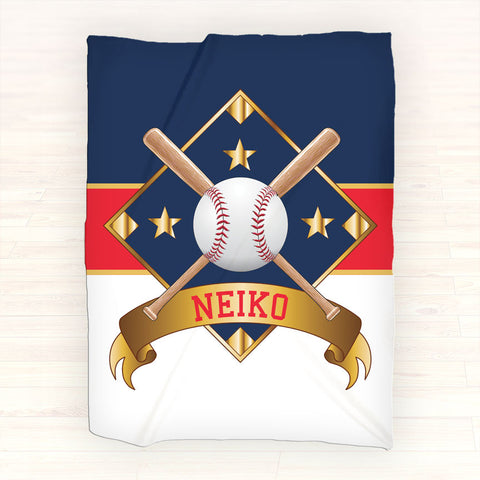 Personalized Fleece Blanket Throw - Personalized Baseball Blanket - Gift Idea - 2cooldesigns