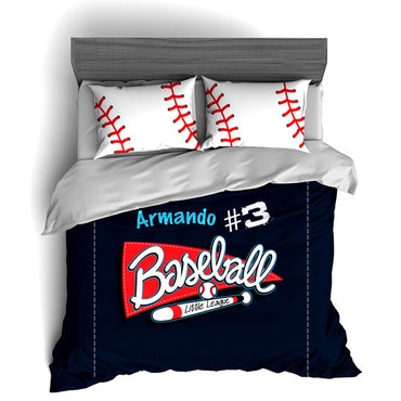 Personalized Baseball Bedding Set, Custom Duvet or Comforter Sets for Baseball Themed Bedroom - 2cooldesigns