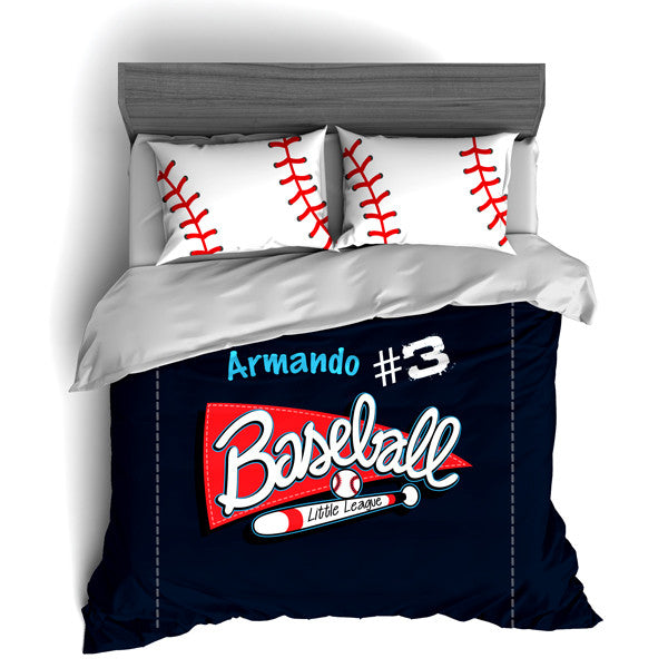 Custom Baseball Bedding Set, Duvet or Comforter Sets for Baseball Themed Bedroom - 2cooldesigns
