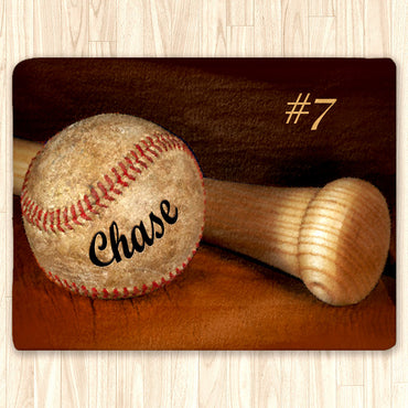 Custom Baseball Fuzzy Area Rug, Personalized, Orange - 2cooldesigns