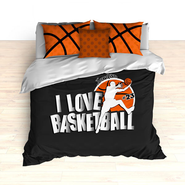 Personalized Basketball Bedding, I Love Basketball, Custom Basketball Duvet or Comforter Sets