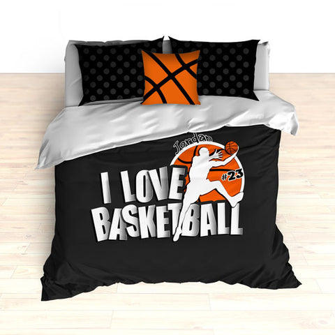 Personalized Basketball Bedding, Black Dots, I Love Basketball Comforter or Duvet - 2cooldesigns