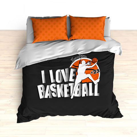 Personalized Basketball Bedding, I Love Basketball Dots, Custom Duvet or Comforter Sets - 2cooldesigns