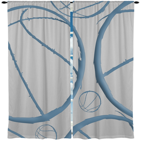 Basketball Theme Window Curtain or Valance, Personalized - 2cooldesigns