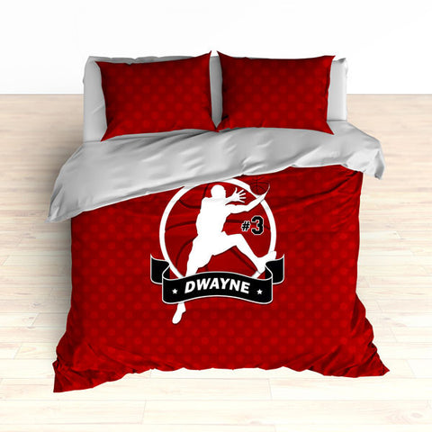 Personalized Basketball Bedding, Red Basketball Dots, Custom Duvet or Comforter - 2cooldesigns
