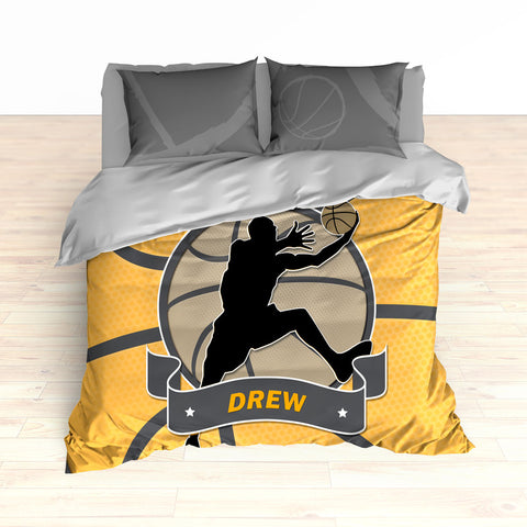 Basketball Stripes Bedding, Basketball Player Silhouette Jumping, Duvet or Comforter Set - 2cooldesigns