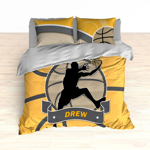 Basketball Stripes Theme Bedding, Basketball Player Silhouette Jumping, Duvet or Comforter Set - 2cooldesigns