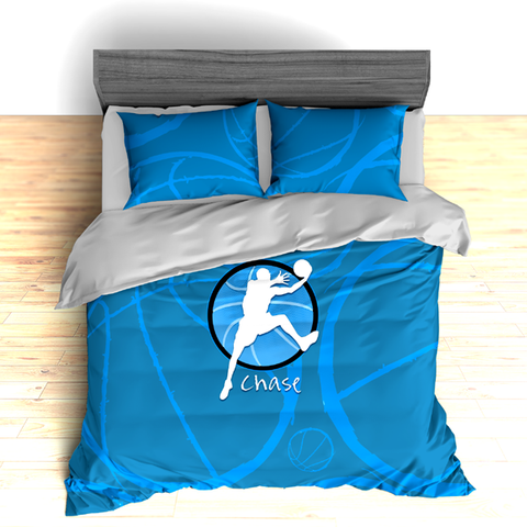 Personalized Basketball Stripes Theme Bedding, Basketball Player Silhouette Duvet or Comforter Sets - 2cooldesigns