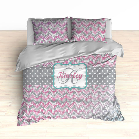 Paisley Pattern Bedding, Ombre Color Gradient, Purple, Pink and Teal, Duvet or Comforter Set - 2cooldesigns