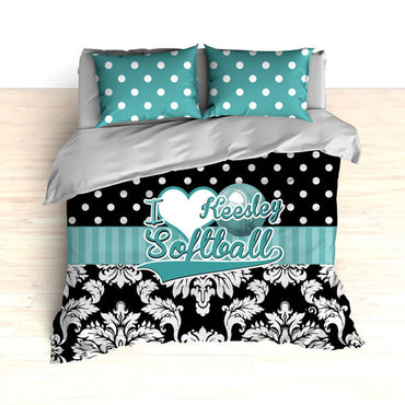Personalized Damask Softball Bedding, Duvet or Comforter Sets, Teal and Black Damask - 2cooldesigns
