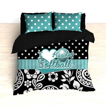 Personalized Floral Softball Bedding, Duvet or Comforter, Teal and Black Floral and Polka Dots - 2cooldesigns