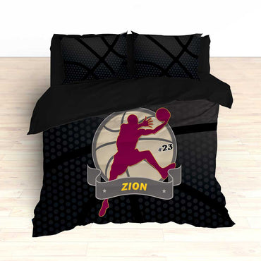 Basketball Bedding Black and Maroon - 2cooldesigns