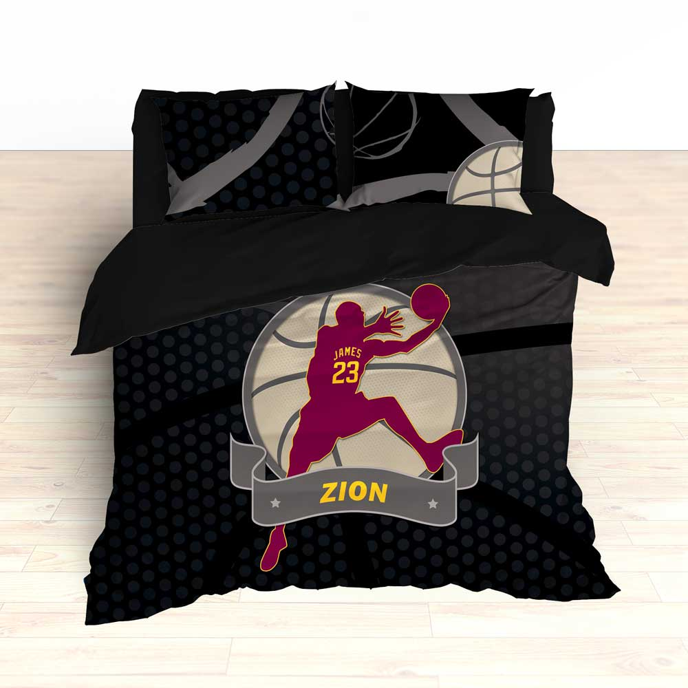 Basketball Player Bedding Black and Maroon Personalized - 2cooldesigns