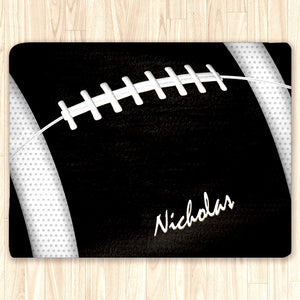Custom Football Area Rug, Personalized, Team Colors, black and white