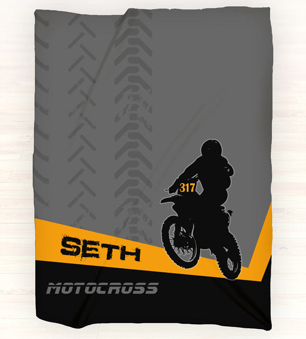 Personalized Fleece Blanket Throw - Personalized Motocross Throw Blanket - Gift Idea - Orange - 2cooldesigns