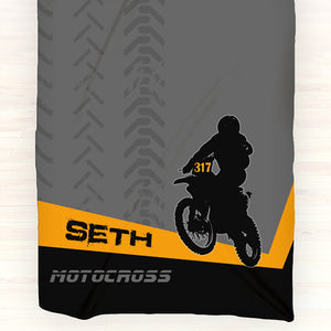 Personalized Fleece Blanket Throw - Personalized Motocross Throw Blanket - Gift Idea - Orange