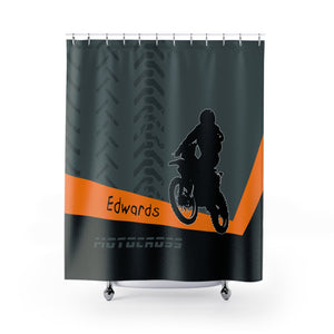 Motocross Shower Curtain, Motorcycle Bathroom Decor