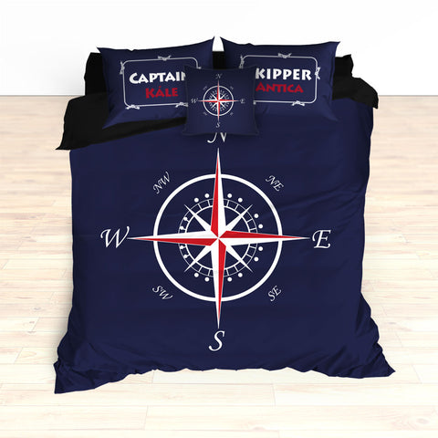 Nautical Compass Bedding, Duvet or Comforter, Personalized - 2cooldesigns