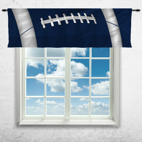 Football Team Colors Window Curtain or Valance, Blue Navy and White - 2cooldesigns