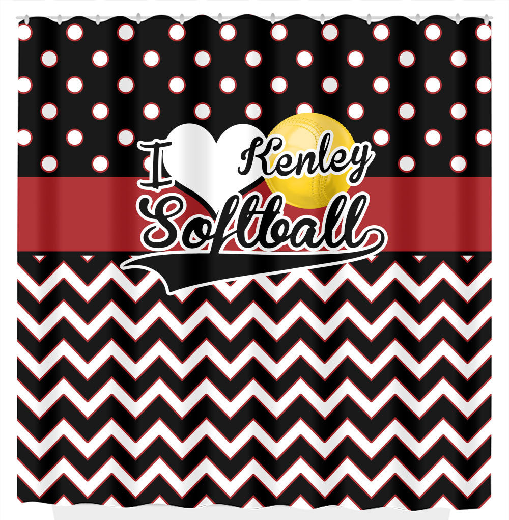 I Love Softball, Red and Black Chevron and Polka Dots Shower Curtain ...