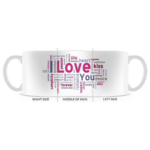 Valentine, Love, Kisses,  Word Art, Coffee Mug 11oz or 15oz - 2cooldesigns