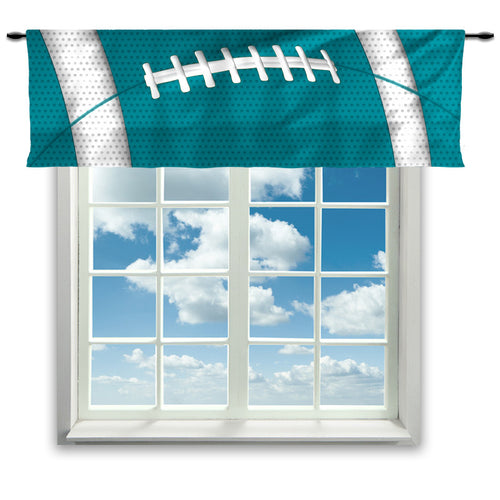 Football Team Colors Window Curtain or Valance, Orange and Teal - 2cooldesigns